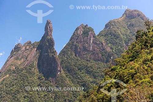 Vista do dos picos Dedo de Deus, Cabeça de Peixe e Santo Antônio a partir do Mirante do Soberbo no Parque Nacional da Serra dos Órgãos  - Teresópolis - Rio de Janeiro (RJ) - Brasil