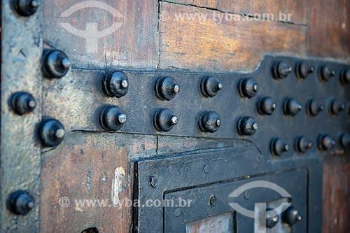 Detalhe de portão de entrada da antiga Fortaleza de Nossa Senhora da Conceição de Villegagnon - hoje abriga a Escola Naval  - Rio de Janeiro - Rio de Janeiro (RJ) - Brasil