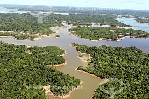 Foto aérea do Rio Manacapuru durante a época da vazante  - Amazonas (AM) - Brasil