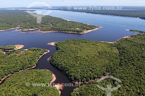 Foto aérea do Rio Negro próximo ao Parque Nacional de Anavilhanas  - Manaus - Amazonas (AM) - Brasil