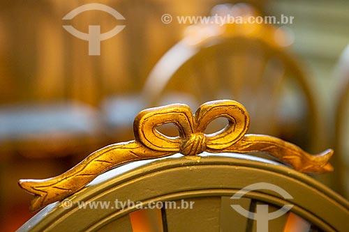 Detalhe de laço em cadeira no Salão Nobre da Academia Brasileira de Letras (ABL)  - Rio de Janeiro - Rio de Janeiro (RJ) - Brasil