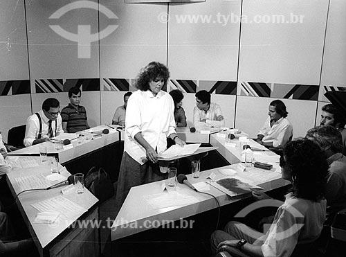 Jornalista Lúcia Leme durante o programa Sem Censura - década de 80  - Rio de Janeiro - Rio de Janeiro (RJ) - Brasil