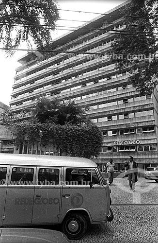 Fachada do edifício sede da Rede Globo - década de 90  - Rio de Janeiro - Rio de Janeiro (RJ) - Brasil