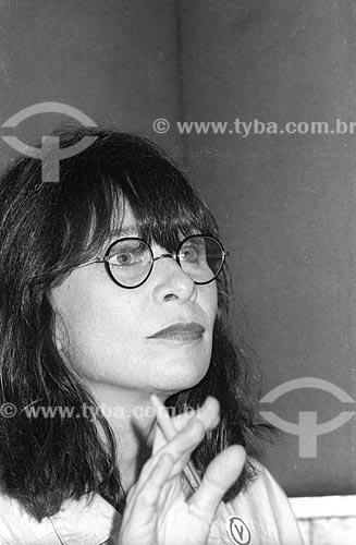 Detalhe da cantora Rita Lee nos estúdios da Rádio Jornal do Brasil - década de 80  - Rio de Janeiro - Rio de Janeiro (RJ) - Brasil