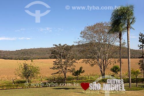 Vista de plantação de milho a partir da sede das Grutas de São Miguel  - Bonito - Mato Grosso do Sul (MS) - Brasil