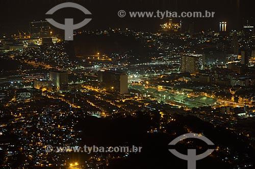 Vista do Sambódromo da Marquês de Sapucaí (1984) a partir do Cristo Redentor durante a noite  - Rio de Janeiro - Rio de Janeiro (RJ) - Brasil
