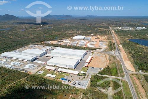 Foto feita com drone do Terminal Intermodal de Cargas (TIC) - parte do Complexo Industrial e Portuário do Pecém  - Caucaia - Ceará (CE) - Brasil