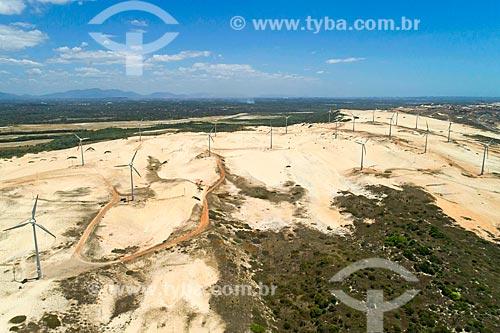 Foto feita com drone do Parque Eólico do Porto das Dunas  - Aquiraz - Ceará (CE) - Brasil