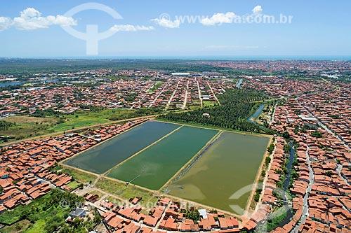 Foto feita com drone da estação de tratamento de esgoto da Companhia de Águas e Esgotos do Ceará (CAGECE)  - Fortaleza - Ceará (CE) - Brasil