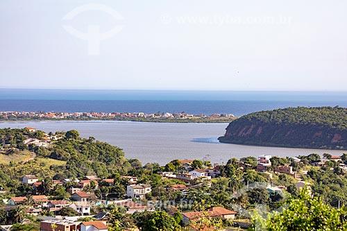 Vista da Lagoa da Barra de Maricá - também conhecida como Lagoa do Boqueirão - com a Lagoa de Araçatiba ao fundo a partir do mirante da Serra do Caju  - Maricá - Rio de Janeiro (RJ) - Brasil