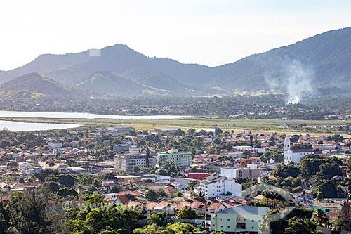 Vista do centro da cidade Maricá a partir do mirante da Serra do Caju  - Maricá - Rio de Janeiro (RJ) - Brasil