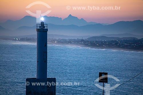 Vista do Farol de Ponta Negra durante o pôr do sol  - Maricá - Rio de Janeiro (RJ) - Brasil