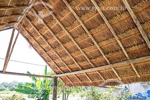 Detalhe de cobertura de sapé na Aldeia Mata Verde Bonita (Tekoa Ka Aguy Ovy Porã) da Tribo Guarani  - Maricá - Rio de Janeiro (RJ) - Brasil