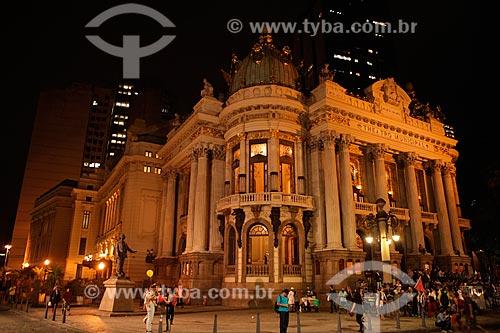Fachada do Theatro Municipal do Rio de Janeiro (1909) à noite  - Rio de Janeiro - Rio de Janeiro (RJ) - Brasil