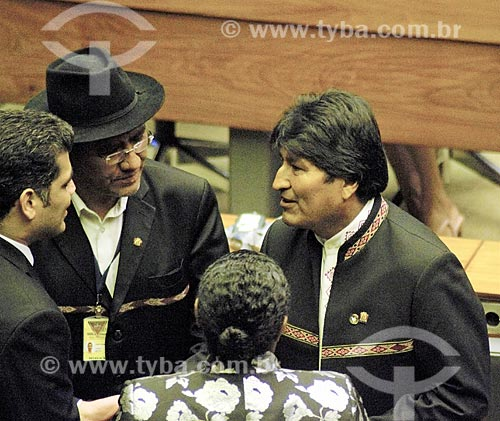 Presidente da Bolívia Evo Morales - à direita - no plenário da Câmara dos Deputados durante a cerimônia de posse presidencial de Jair Bolsonaro  - Brasília - Distrito Federal (DF) - Brasil