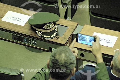 Quepe militar no plenário da Câmara dos Deputados durante a cerimônia de posse presidencial de Jair Bolsonaro  - Brasília - Distrito Federal (DF) - Brasil