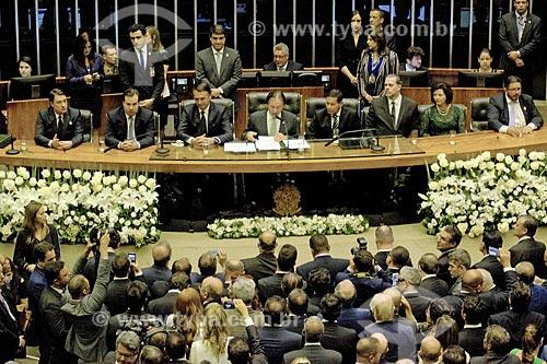 Presidente Jair Bolsonaro no plenário da Câmara dos Deputados durante a cerimônia de posse presidencial  - Brasília - Distrito Federal (DF) - Brasil