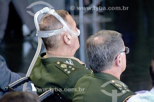 General Eduardo Villas Bôas - usando respirador - durante a cerimônia de posse de Sérgio Moro como Ministro da Justiça  - Brasília - Distrito Federal (DF) - Brasil
