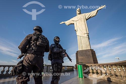 Treinamento do Batalhão de Operações Especiais (BOPE) no Cristo Redentor  - Rio de Janeiro - Rio de Janeiro (RJ) - Brasil