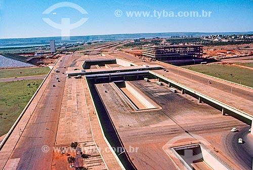 Foto aérea da Plataforma Rodoviária de Brasília durante a construção de Brasília  - Brasília - Distrito Federal (DF) - Brasil