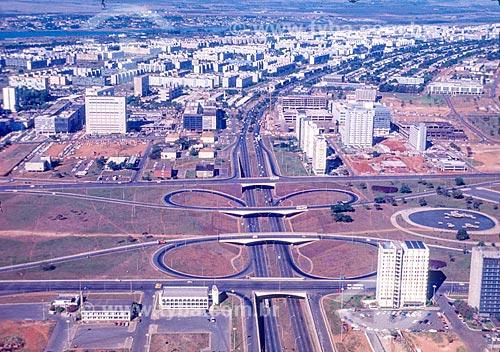 Foto aérea do Jardim Burle Marx durante a construção de Brasília  - Brasília - Distrito Federal (DF) - Brasil