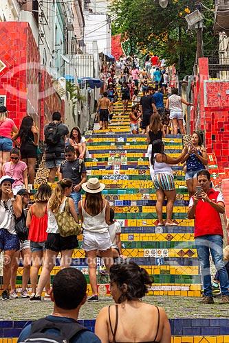 Público na Escadaria do Selarón  - Rio de Janeiro - Rio de Janeiro (RJ) - Brasil
