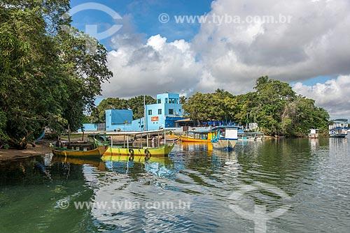 Barcos atracados às margens do Rio São Francisco na marina de Brejo Grande  - Brejo Grande - Sergipe (SE) - Brasil