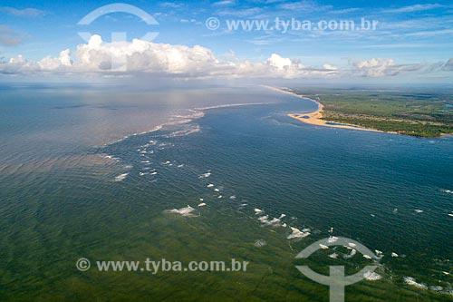 Foto feita com drone da foz do Rio São Francisco no Pontal do Peba - divisa entre Sergipe e Alagoas  - Brejo Grande - Sergipe (SE) - Brasil