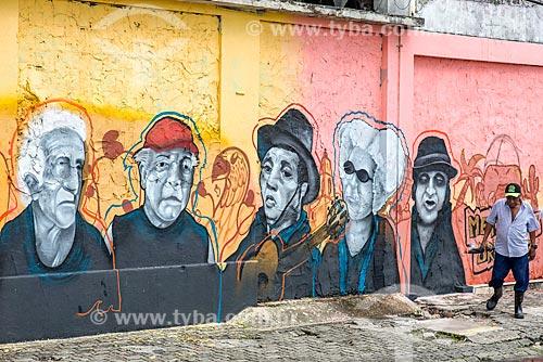 Muro com grafite no centro da cidade de Aracaju  - Aracaju - Sergipe (SE) - Brasil